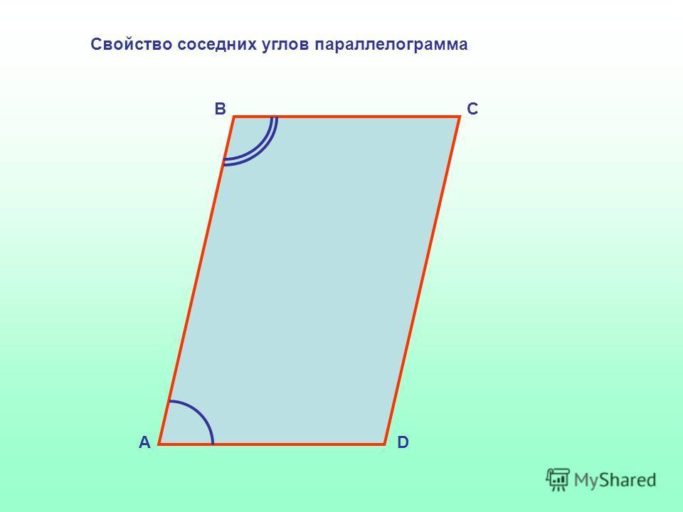 Свойство соседних углов параллелограмма А BC D