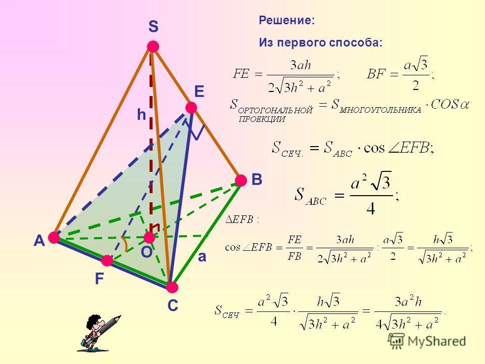 A S B C F E O Решение: Из первого способа: a h