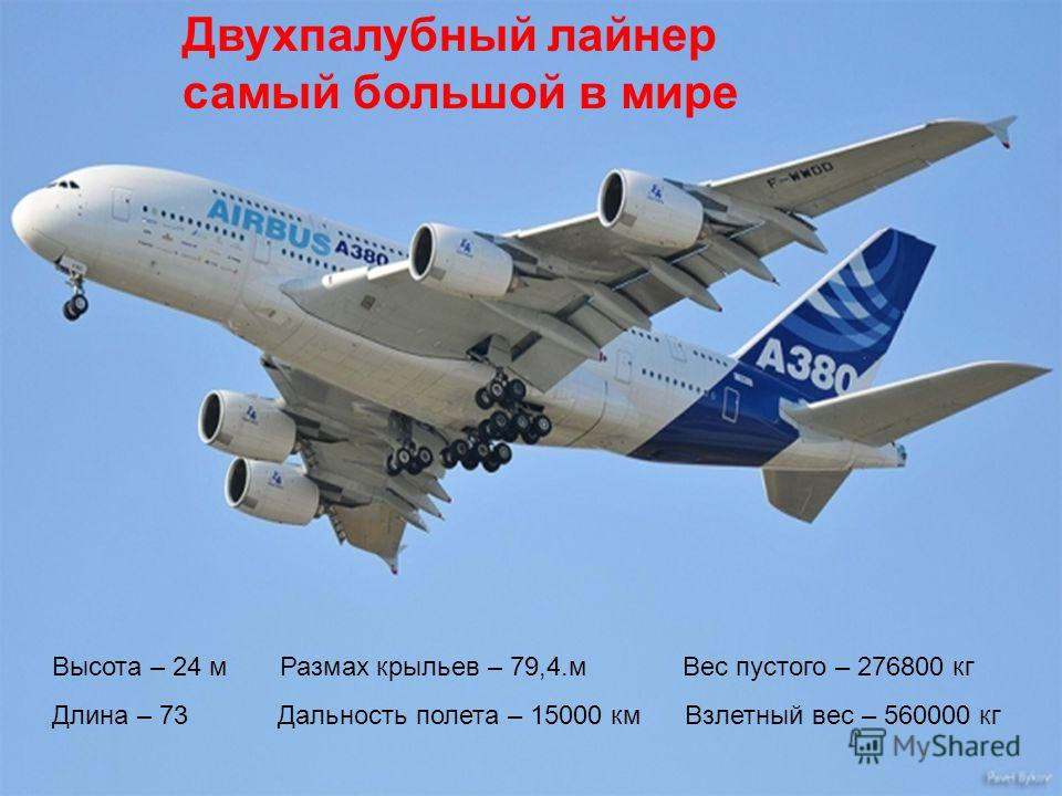 Высота – 24 м Размах крыльев – 79,4.м Вес пустого – 276800 кг Длина – 73 Дальность полета – 15000 км Взлетный вес – 560000 кг Двухпалубный лайнер самый большой в мире