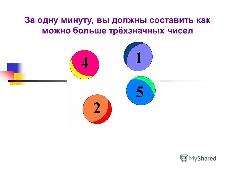 За одну минуту, вы должны составить как можно больше трёхзначных чисел