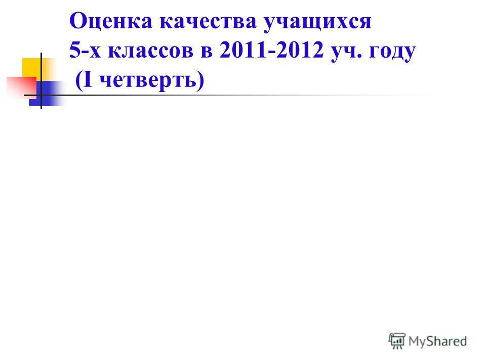 Оценка качества учащихся 5-х классов в 2011-2012 уч. году (I четверть)