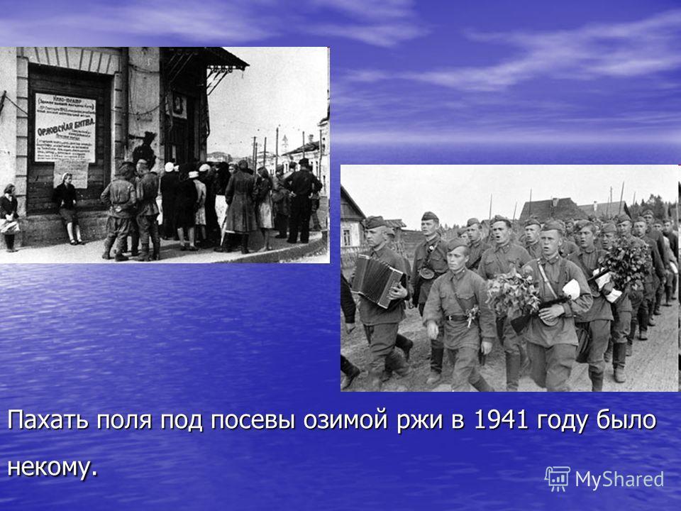 Пахать поля под посевы озимой ржи в 1941 году было некому.