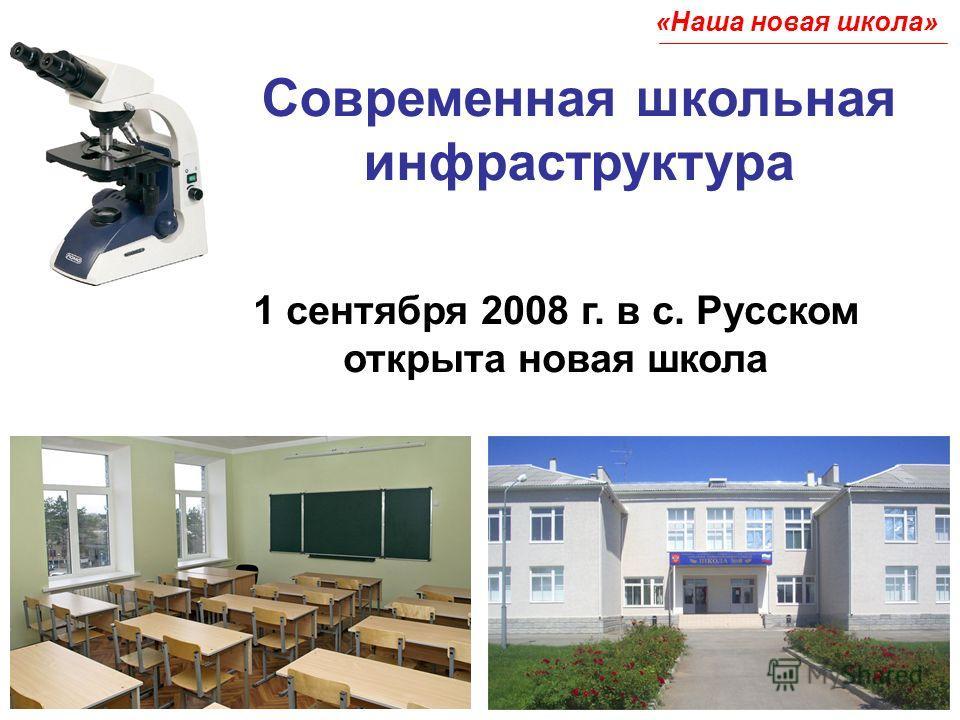 Современная школьная инфраструктура 1 сентября 2008 г. в с. Русском открыта новая школа «Наша новая школа»
