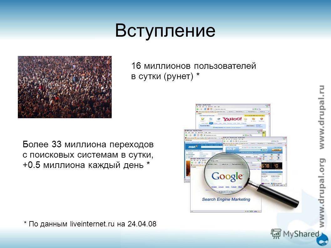 Вступление 16 миллионов пользователей в сутки (рунет) * Более 33 миллиона переходов с поисковых системам в сутки, +0.5 миллиона каждый день * * По данным liveinternet.ru на 24.04.08