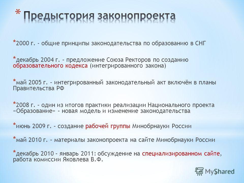 * 2000 г. - общие принципы законодательства по образованию в СНГ * декабрь 2004 г. – предложение Союза Ректоров по созданию образовательного кодекса (интегрированного закона) * май 2005 г. – интегрированный законодательный акт включён в планы Правите