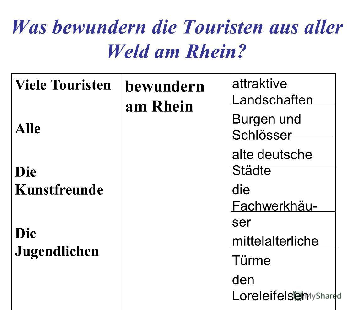 Was bewundern die Touristen aus aller Weld am Rhein? Viele Touristen Alle Die Kunstfreunde Die Jugendlichen bewundern am Rhein attraktive Landschaften Burgen und Schlösser alte deutsche Städte die Fachwerkhäu- ser mittelalterliche Türme den Loreleife