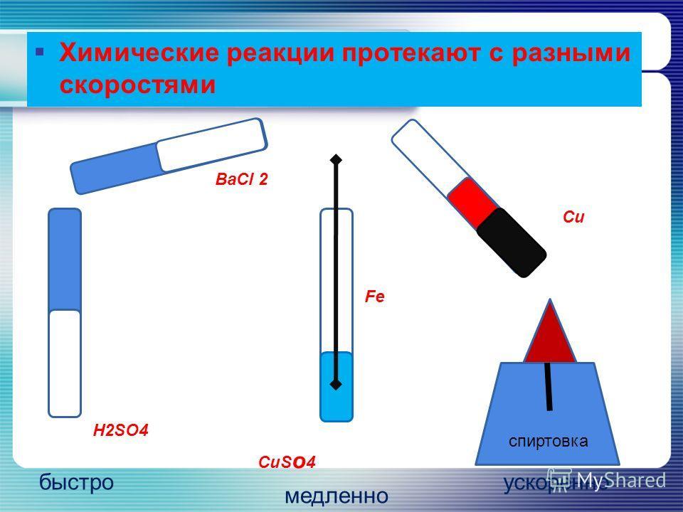 Химические реакции протекают с разными скоростями H2SO4 BaCl 2 быстро спиртовка Cu ускоренно CuS о 4 Fe медленно