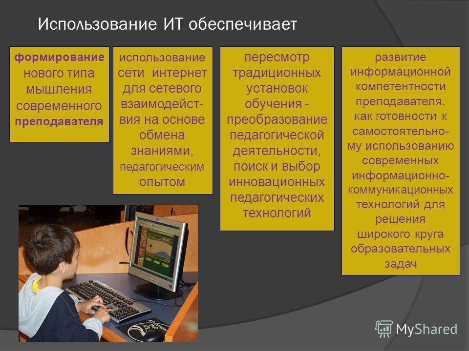 Использование ИТ обеспечивает использование сети интернет для сетевого взаимодейст- вия на основе обмена знаниями, педагогическим опытом развитие информационной компетентности преподавателя, как готовности к самостоятельно- му использованию современн