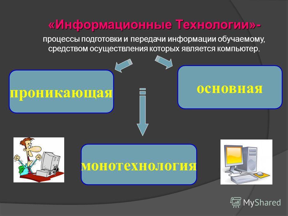 «Информационные Технологии»- процессы подготовки и передачи информации обучаемому, средством осуществления которых является компьютер. монотехнология основная проникающая
