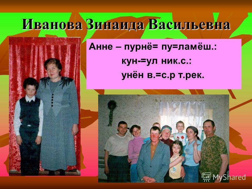 Иванова Зинаида Васильевна Анне – пурнё= пу=ламёш.: кун-=ул ник.с.: унён в.=с.р т.рек.