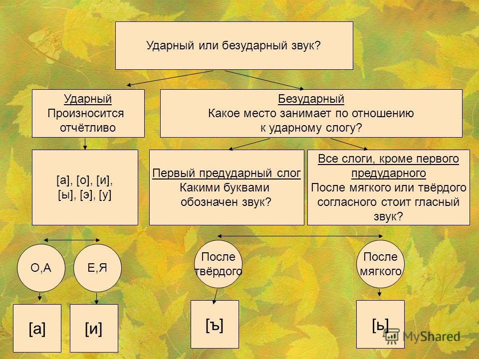 Ударный или безударный звук? Ударный Произносится отчётливо Безударный Какое место занимает по отношению к ударному слогу? [а], [о], [и], [ы], [э], [у] Первый предударный слог Какими буквами обозначен звук? Все слоги, кроме первого предударного После