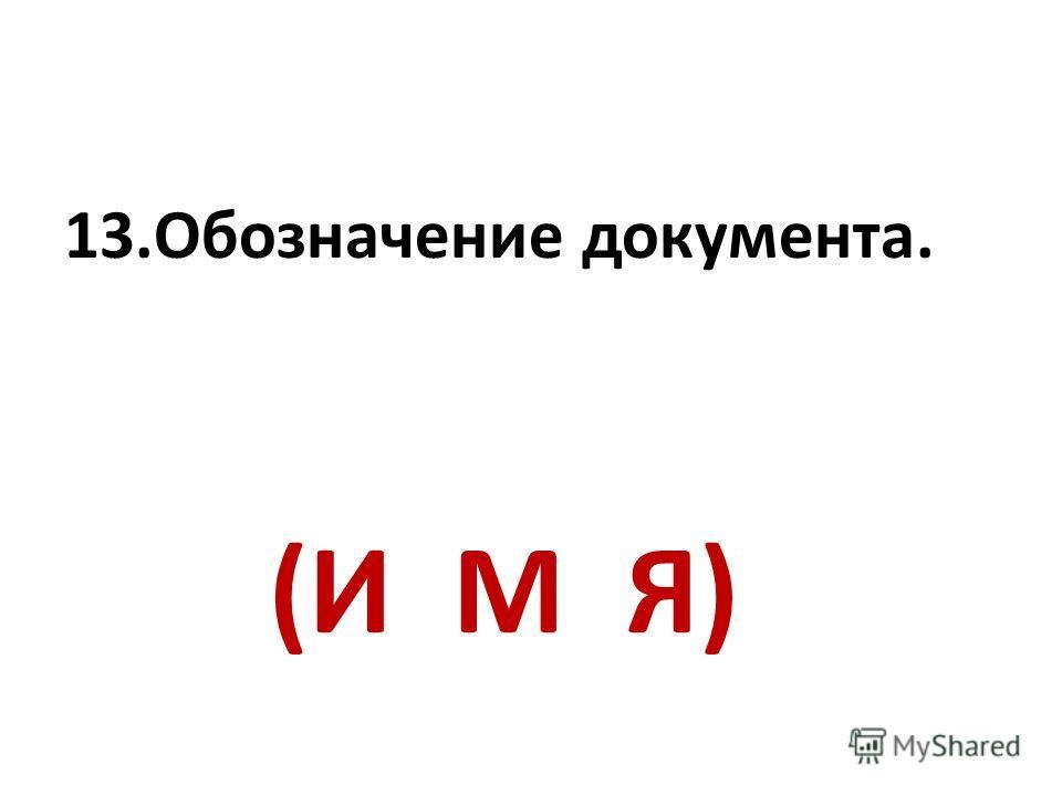 13.Обозначение документа. (И М Я)