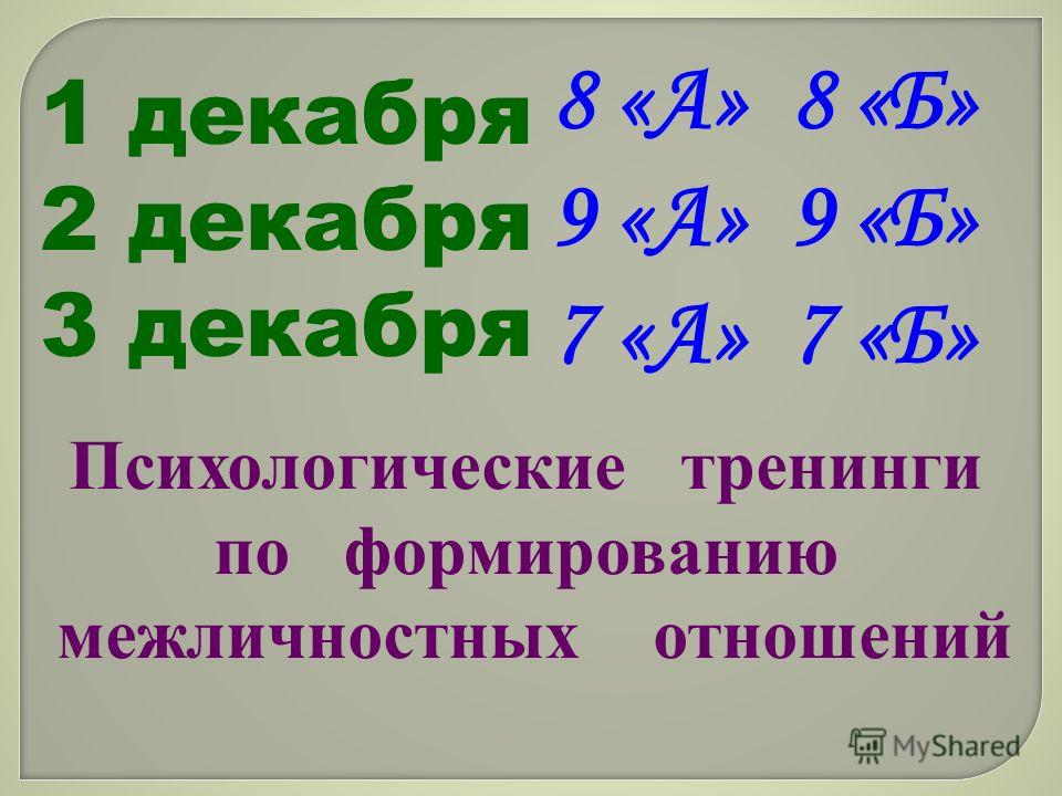 1 декабря 2 декабря 3 декабря Психологические тренинги по формированию межличностных отношений 8 «А» 8 «Б» 9 «А» 9 «Б» 7 «А» 7 «Б»