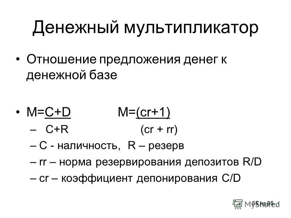 55 из 85 Денежный мультипликатор Отношение предложения денег к денежной базе M=C+D M=(cr+1) – C+R (cr + rr) –C - наличность, R – резерв –rr – норма резервирования депозитов R/D –cr – коэффициент депонирования C/D