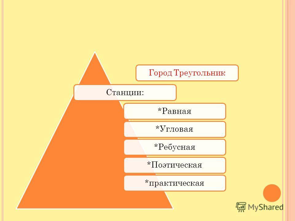 Город ТреугольникСтанции:*Равная*Угловая*Ребусная*Поэтическая*практическая