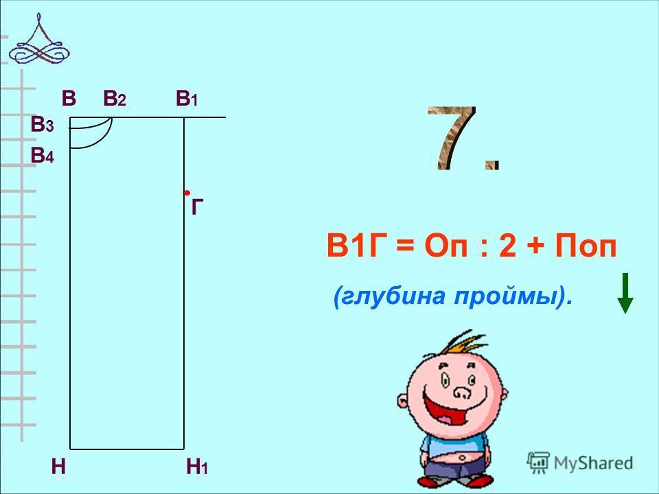 В1Г = Оп : 2 + Поп (глубина проймы). НН1Н1 В В3В3 В4В4 В1В1 В2В2 Г
