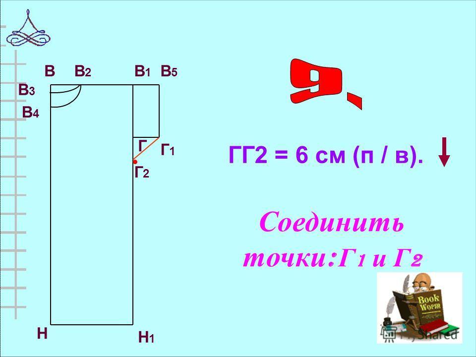 ГГ2 = 6 см (п / в). ВВ2В2 В1В1 В5В5 В3В3 В4В4 Г Г1Г1 Н Н1Н1 Г2Г2 Соединить точки : Г 1 и Г 2