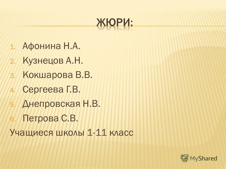1. Афонина Н.А. 2. Кузнецов А.Н. 3. Кокшарова В.В. 4. Сергеева Г.В. 5. Днепровская Н.В. 6. Петрова С.В. Учащиеся школы 1-11 класс