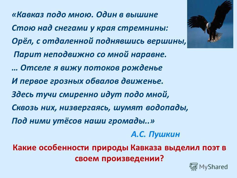 «Кавказ подо мною. Один в вышине Стою над снегами у края стремнины: Орёл, с отдаленной поднявшись вершины, Парит неподвижно со мной наравне. … Отселе я вижу потоков рожденье И первое грозных обвалов движенье. Здесь тучи смиренно идут подо мной, Сквоз
