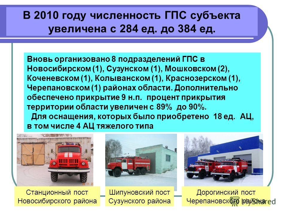 В 2010 году численность ГПС субъекта увеличена с 284 ед. до 384 ед. Вновь организовано 8 подразделений ГПС в Новосибирском (1), Сузунском (1), Мошковском (2), Коченевском (1), Колыванском (1), Краснозерском (1), Черепановском (1) районах области. Доп