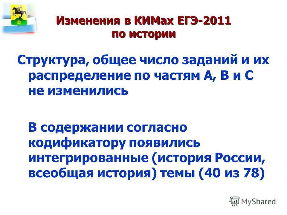 Изменения в КИМах ЕГЭ-2011 по истории Структура, общее число заданий и их распределение по частям А, В и С не изменились В содержании согласно кодификатору появились интегрированные (история России, всеобщая история) темы (40 из 78)