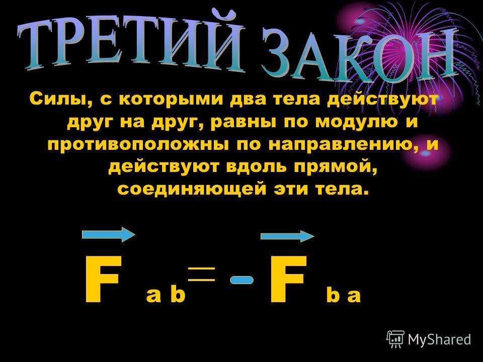 Силы, с которыми два тела действуют друг на друг, равны по модулю и противоположны по направлению, и действуют вдоль прямой, соединяющей эти тела. F a b F b a
