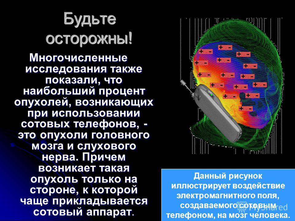 Будьте осторожны! Многочисленные исследования также показали, что наибольший процент опухолей, возникающих при использовании сотовых телефонов, - это опухоли головного мозга и слухового нерва. Причем возникает такая опухоль только на стороне, к котор