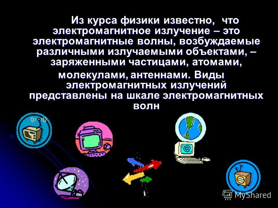 Из курса физики известно, что электромагнитное излучение – это электромагнитные волны, возбуждаемые различными излучаемыми объектами, – заряженными частицами, атомами, молекулами, антеннами. Виды электромагнитных излучений представлены на шкале элект