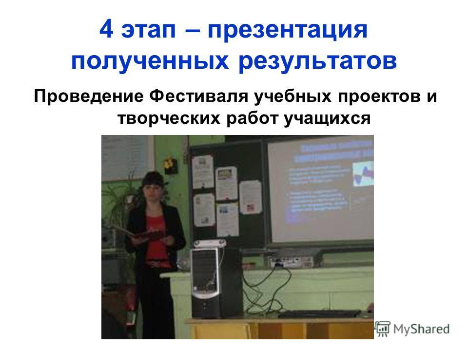 4 этап – презентация полученных результатов Проведение Фестиваля учебных проектов и творческих работ учащихся