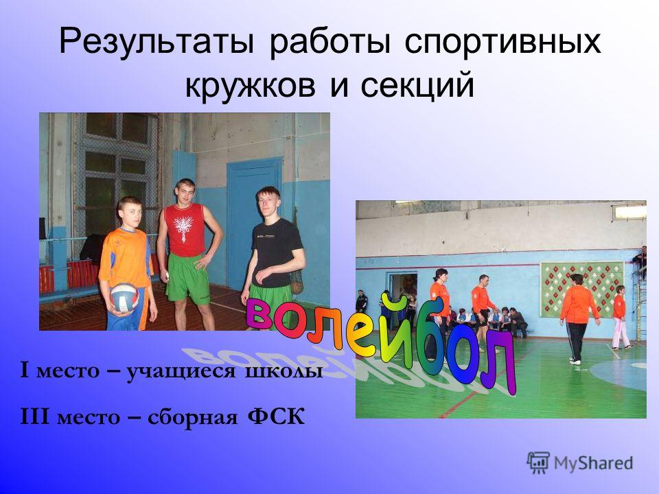 Результаты работы спортивных кружков и секций I место – учащиеся школы III место – сборная ФСК