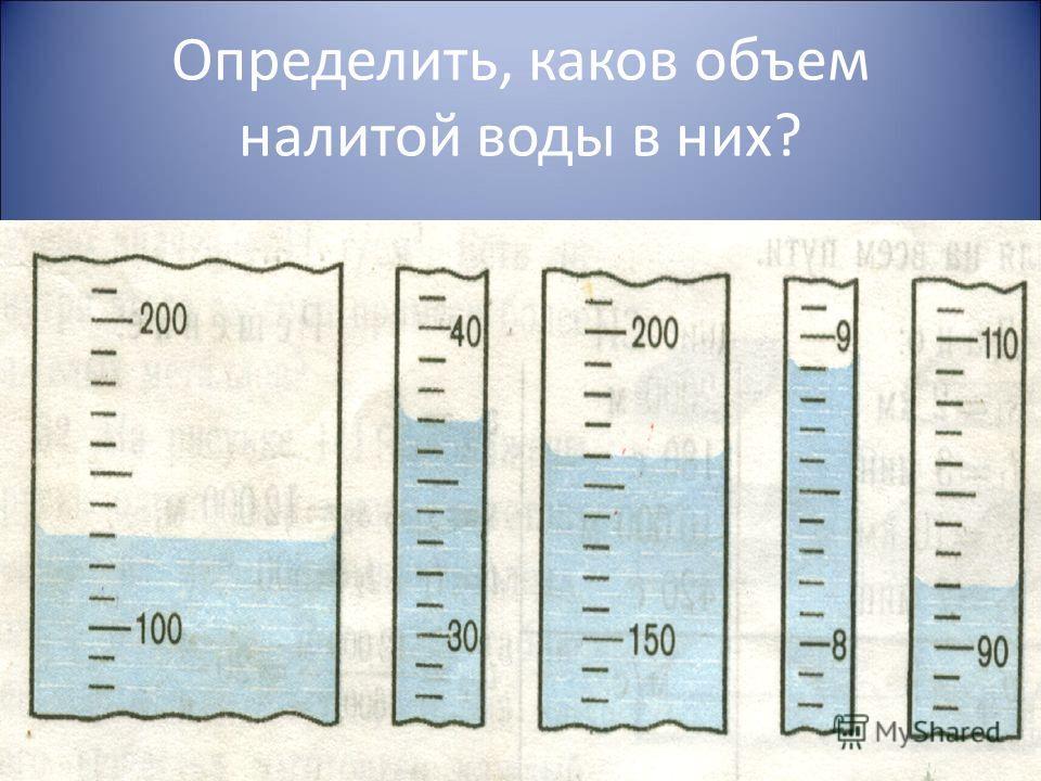 Определить, каков объем налитой воды в них?