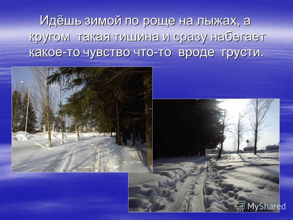 Идёшь зимой по роще на лыжах, а кругом такая тишина и сразу набегает какое-то чувство что-то вроде грусти. Идёшь зимой по роще на лыжах, а кругом такая тишина и сразу набегает какое-то чувство что-то вроде грусти.