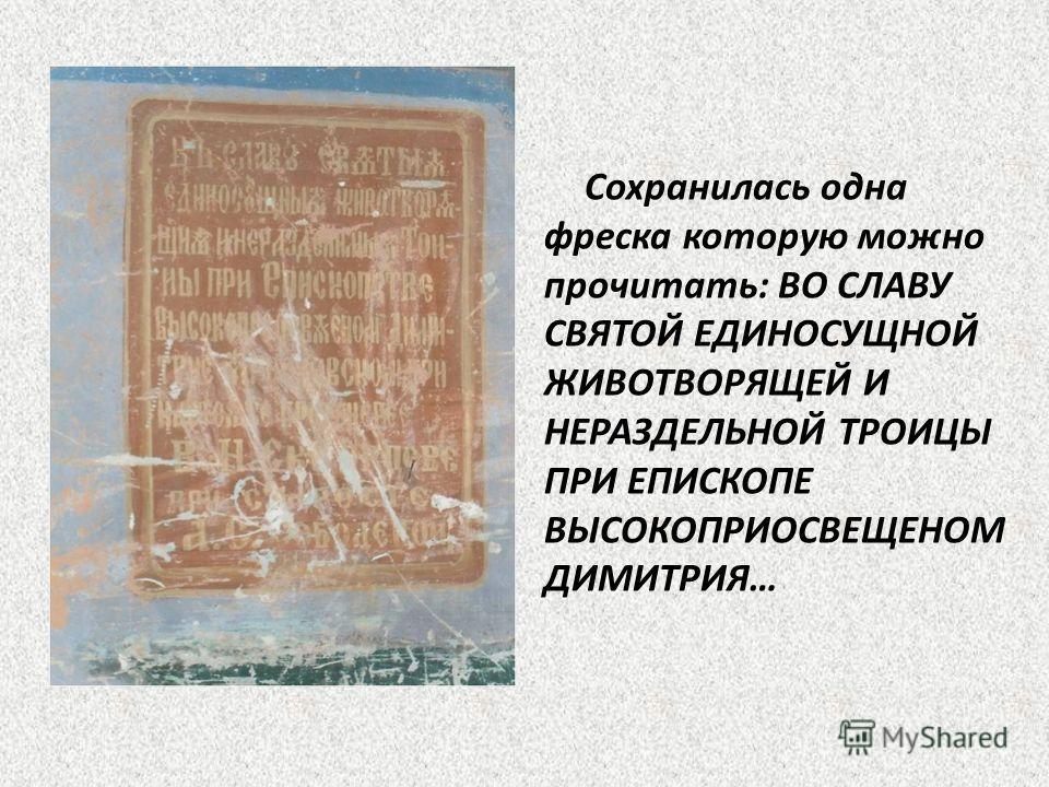 Сохранилась одна фреска которую можно прочитать: ВО СЛАВУ СВЯТОЙ ЕДИНОСУЩНОЙ ЖИВОТВОРЯЩЕЙ И НЕРАЗДЕЛЬНОЙ ТРОИЦЫ ПРИ ЕПИСКОПЕ ВЫСОКОПРИОСВЕЩЕНОМ ДИМИТРИЯ…