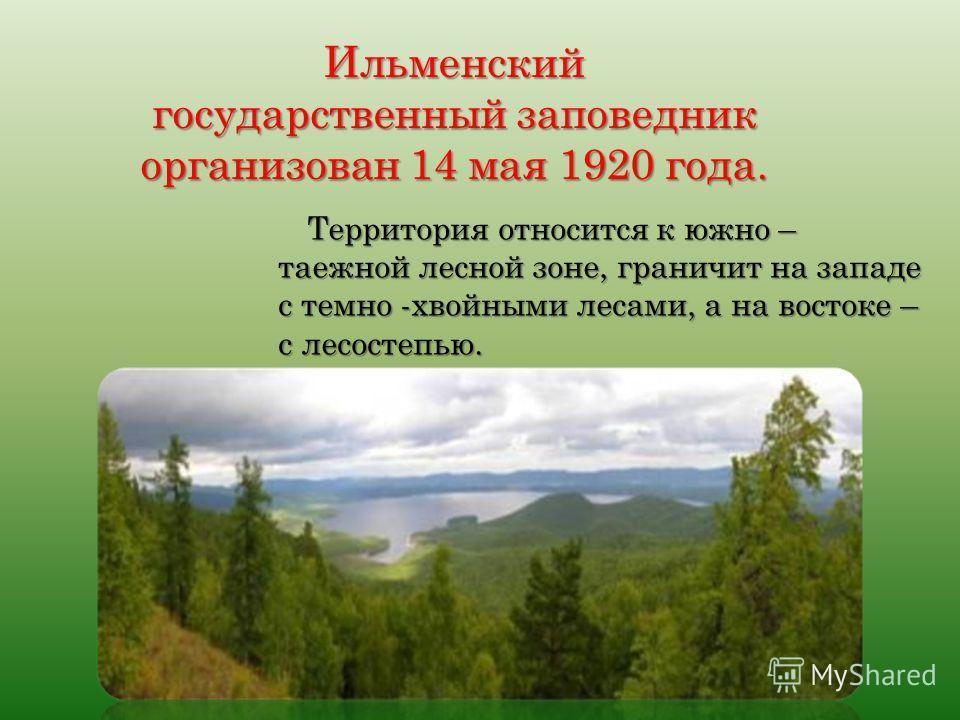 Ильменский государственный заповедник организован 14 мая 1920 года. Территория относится к южно – таежной лесной зоне, граничит на западе с темно -хвойными лесами, а на востоке – с лесостепью.