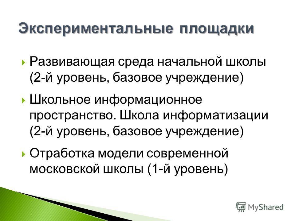 Развивающая среда начальной школы (2-й уровень, базовое учреждение) Школьное информационное пространство. Школа информатизации (2-й уровень, базовое учреждение) Отработка модели современной московской школы (1-й уровень)