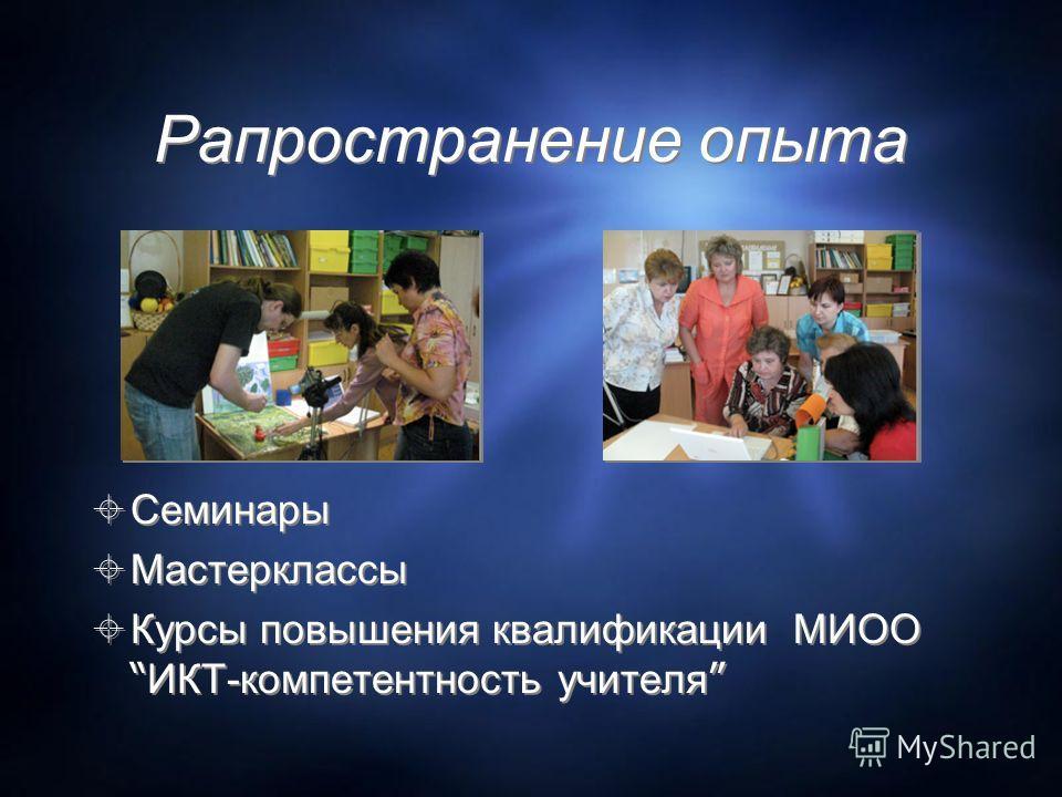Рапространение опыта Семинары Мастерклассы Курсы повышения квалификации МИОО ИКТ-компетентность учителя