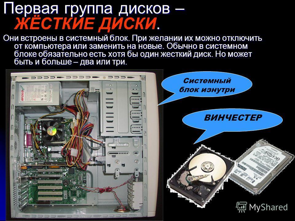 Первая группа дисков – ЖЁСТКИЕ ДИСКИ. Они встроены в системный блок. При желании их можно отключить от компьютера или заменить на новые. Обычно в системном блоке обязательно есть хотя бы один жесткий диск. Но может быть и больше – два или три. ВИНЧЕС