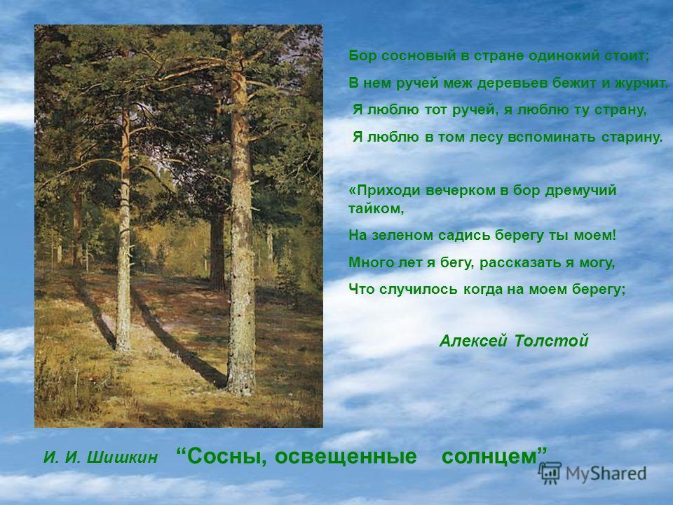 Бор сосновый в стране одинокий стоит; В нем ручей меж деревьев бежит и журчит. Я люблю тот ручей, я люблю ту страну, Я люблю в том лесу вспоминать старину. «Приходи вечерком в бор дремучий тайком, На зеленом садись берегу ты моем! Много лет я бегу, р