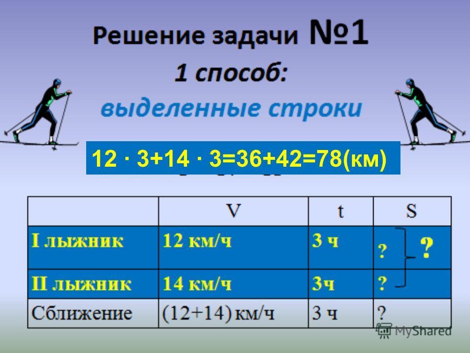 12 3+14 3=36+42=78(км)