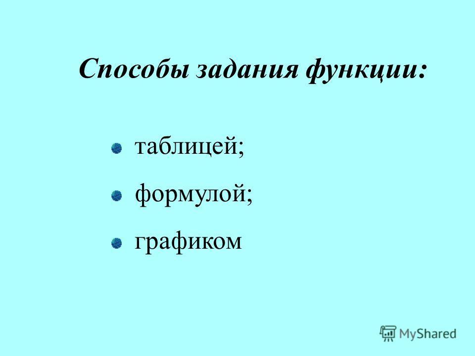 Способы задания функции: таблицей; формулой; графиком