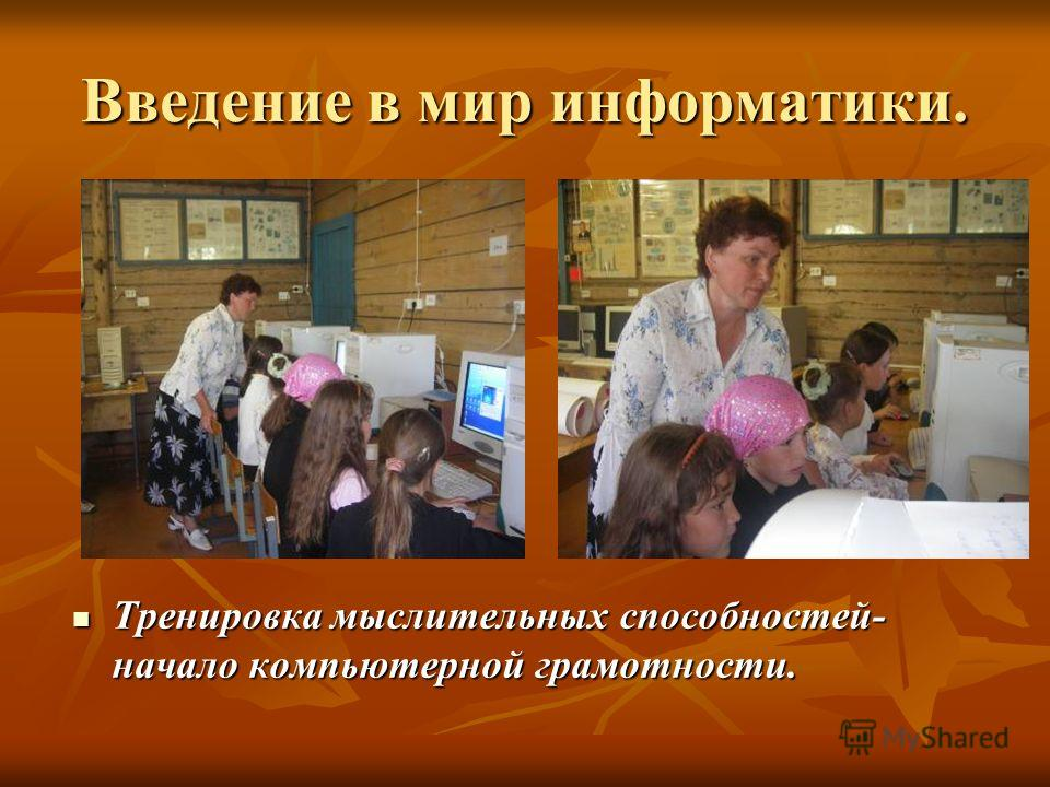 Введение в мир информатики. Тренировка мыслительных способностей- начало компьютерной грамотности. Тренировка мыслительных способностей- начало компьютерной грамотности.