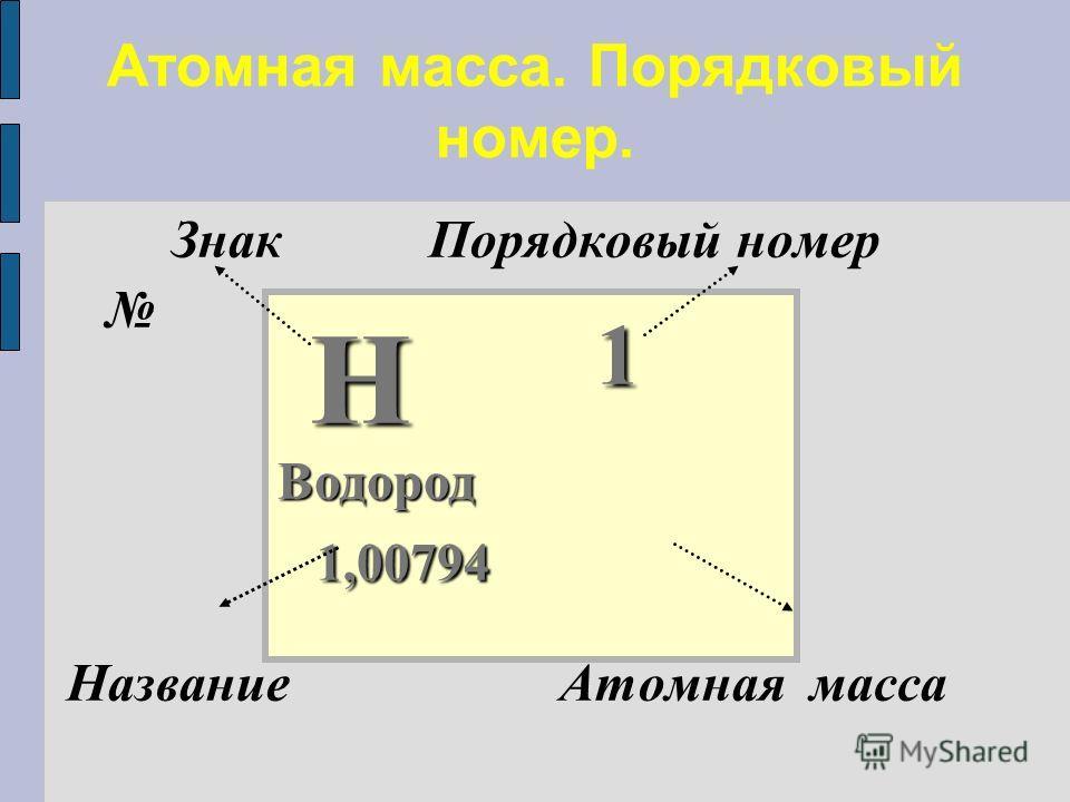 Знак Порядковый номер Название Атомная масса Атомная масса. Порядковый номер. Н 1 Н 1 Водород 1,00794