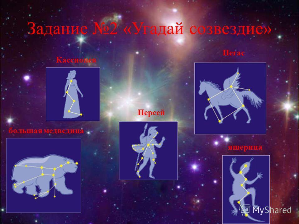 Задание 2 «Угадай созвездие» большая медведица Кассиопея Пегас Персей ящерица