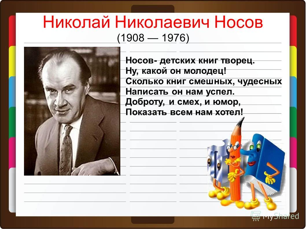 Тема: Николай Николаевич Носов «Ачадаз анидеф» Познакомимся…. Научимся… «Федина задача»