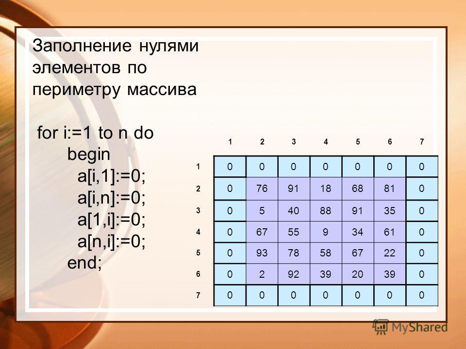 1234567 1 0000000 2 076911868810 3 05408891350 4 06755934610 5 093785867220 6 02923920390 7 0000000 Заполнение нулями элементов по периметру массива for i:=1 to n do begin a[i,1]:=0; a[i,n]:=0; a[1,i]:=0; a[n,i]:=0; end;