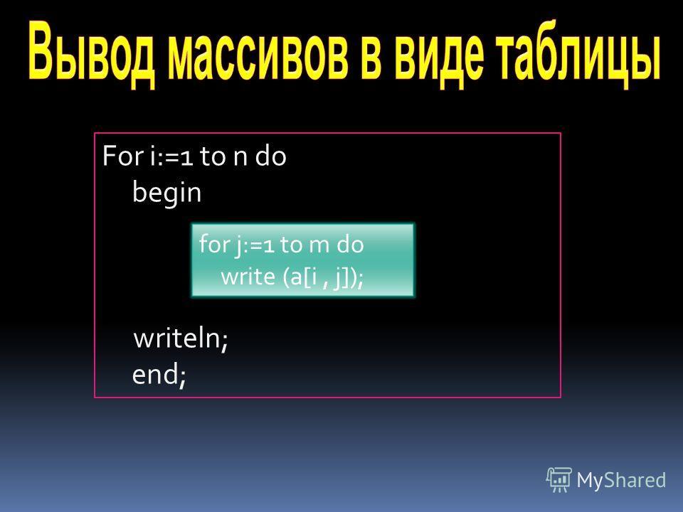 For i:=1 to n do begin writeln; end; for j:=1 to m do write (a[i, j]);