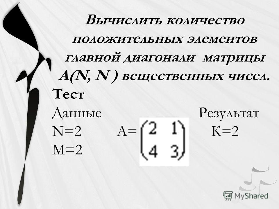 Вычислить количество положительных элементов главной диагонали матрицы A(N, N ) вещественных чисел. Тест Данные Результат N=2 A= К=2 M=2