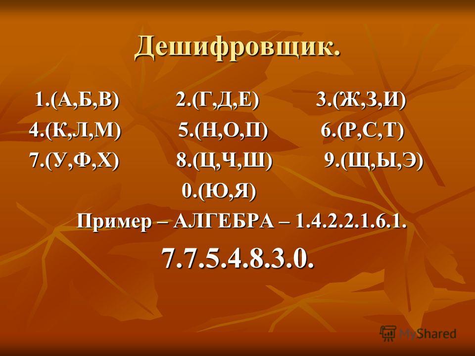 Дешифровщик. 1.(А,Б,В) 2.(Г,Д,Е) 3.(Ж,З,И) 1.(А,Б,В) 2.(Г,Д,Е) 3.(Ж,З,И) 4.(К,Л,М) 5.(Н,О,П) 6.(Р,С,Т) 7.(У,Ф,Х) 8.(Ц,Ч,Ш) 9.(Щ,Ы,Э) 0.(Ю,Я) 0.(Ю,Я) Пример – АЛГЕБРА – 1.4.2.2.1.6.1. Пример – АЛГЕБРА – 1.4.2.2.1.6.1.7.7.5.4.8.3.0.