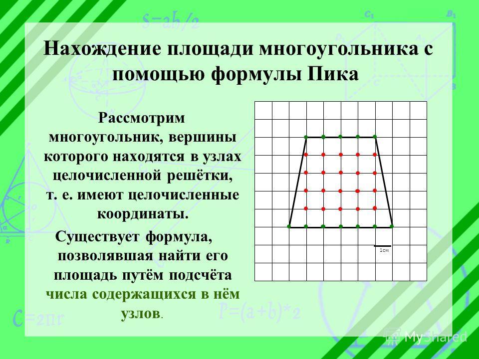 Нахождение площади многоугольника с помощью формулы Пика Рассмотрим многоугольник, вершины которого находятся в узлах целочисленной решётки, т. е. имеют целочисленные координаты. Существует формула, позволявшая найти его площадь путём подсчёта числа