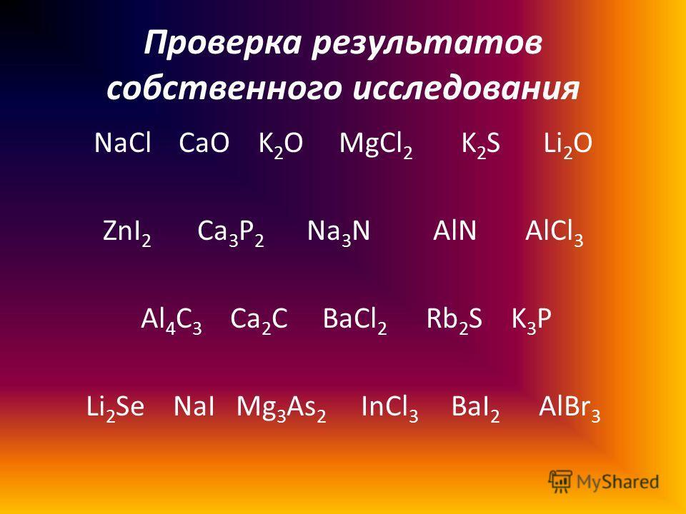 Проверка результатов собственного исследования NaCl CaO K 2 O MgCl 2 K 2 S Li 2 O ZnI 2 Ca 3 P 2 Na 3 N AlN AlCl 3 Al 4 C 3 Ca 2 C BaCl 2 Rb 2 S K 3 P Li 2 Se NaI Mg 3 As 2 InCl 3 BaI 2 AlBr 3